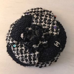 Chanel black and white tweed camellia brooch